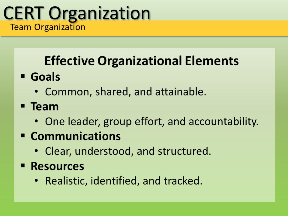 CERT Organization Team Organization Effective Organizational Elements  Goals Common, shared, and attainable.  Team One leader, group effort, and acc