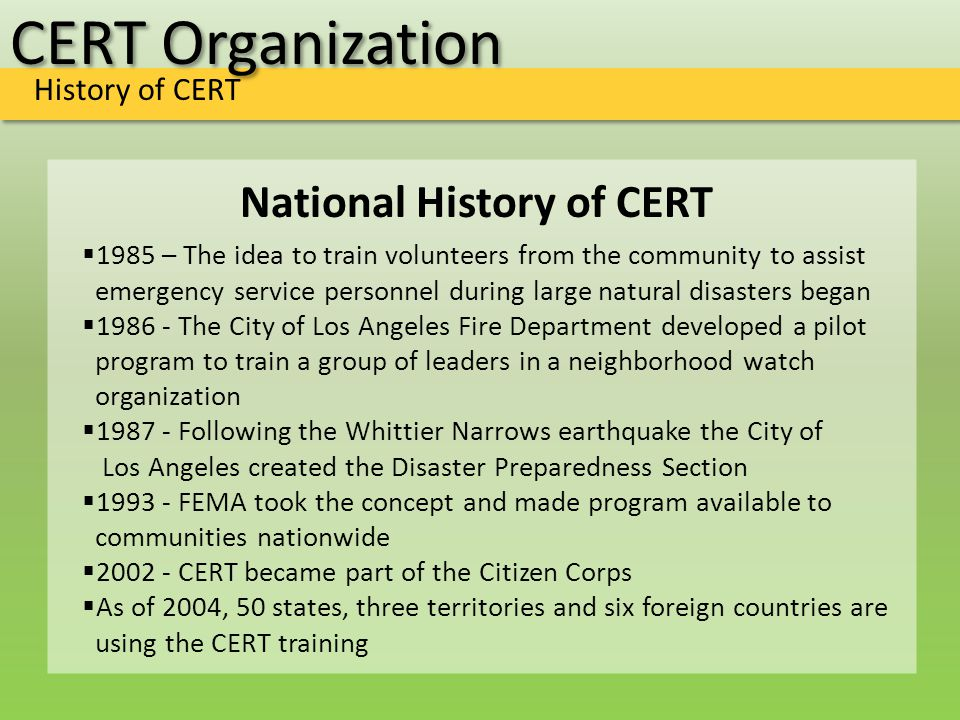 CERT Organization CERT in Action Video