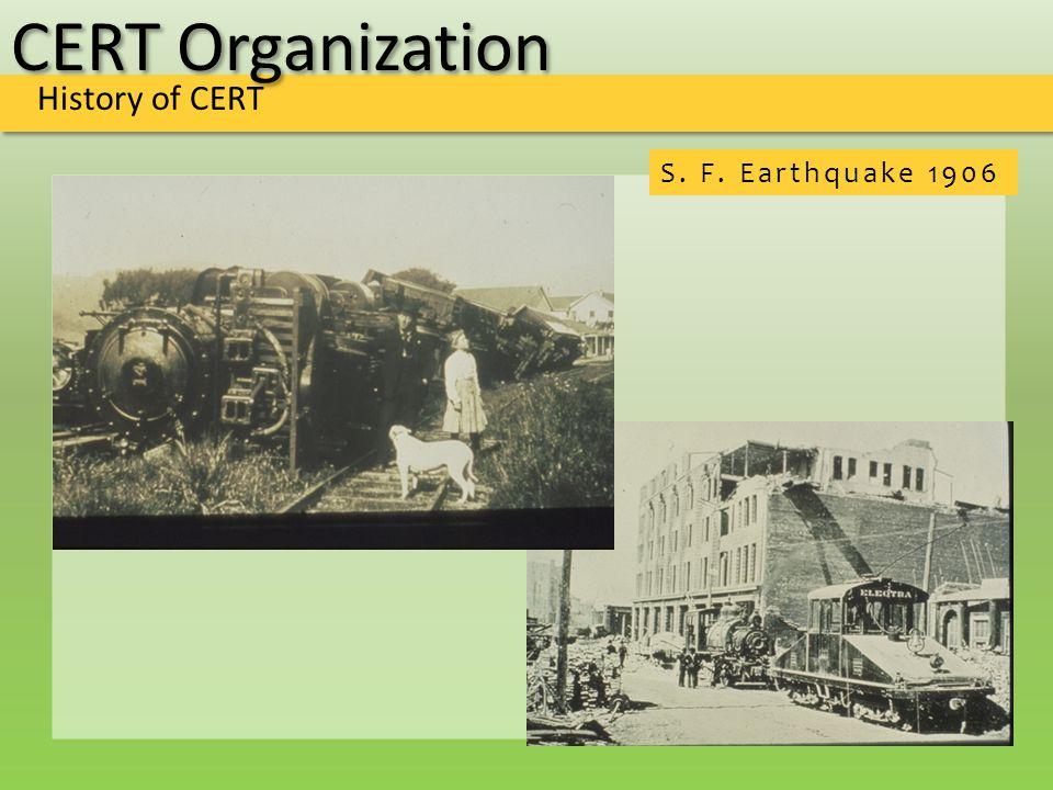 CERT Organization History of CERT S. F. Earthquake 1906