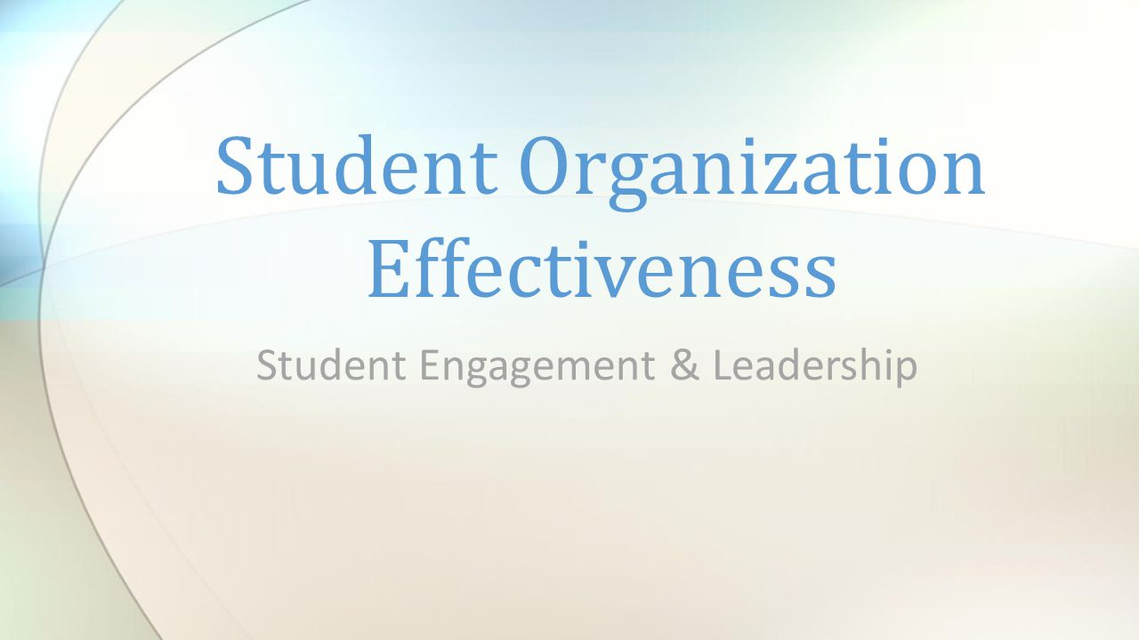 Student Engagement & Leadership Student Organization Effectiveness