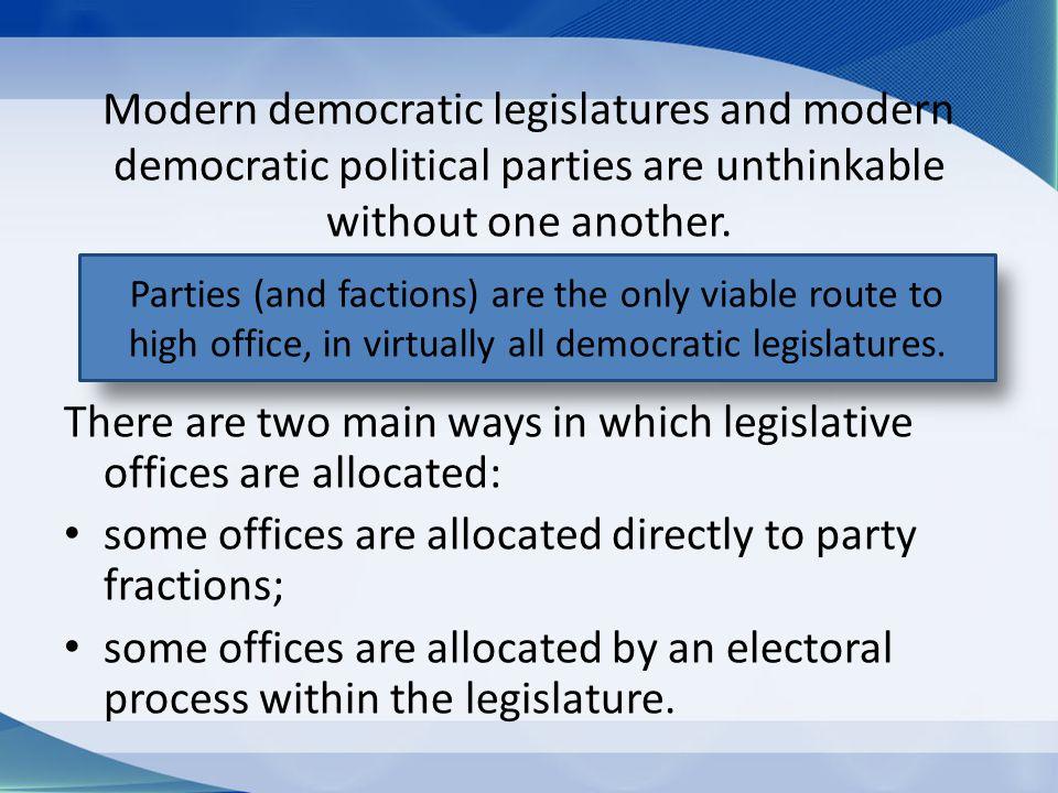 Modern democratic legislatures and modern democratic political parties are unthinkable without one another.