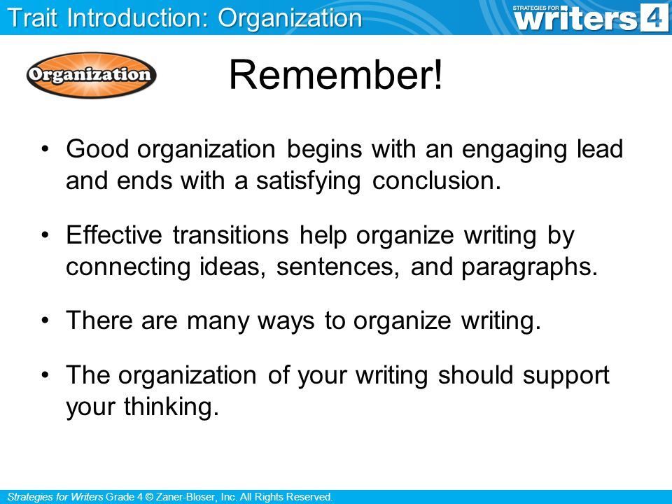 Strategies for Writers Grade 4 © Zaner-Bloser, Inc. All Rights Reserved.