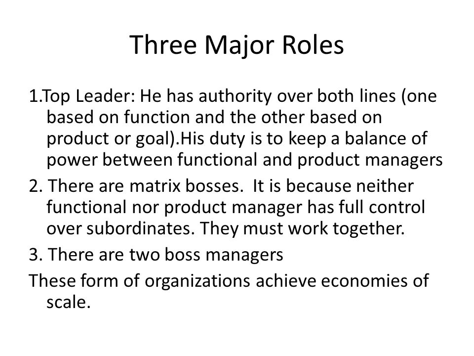 Matrix Organization It is the departmentalization by both Function and product. Employees in matrix organization have two bosses (They are under dual