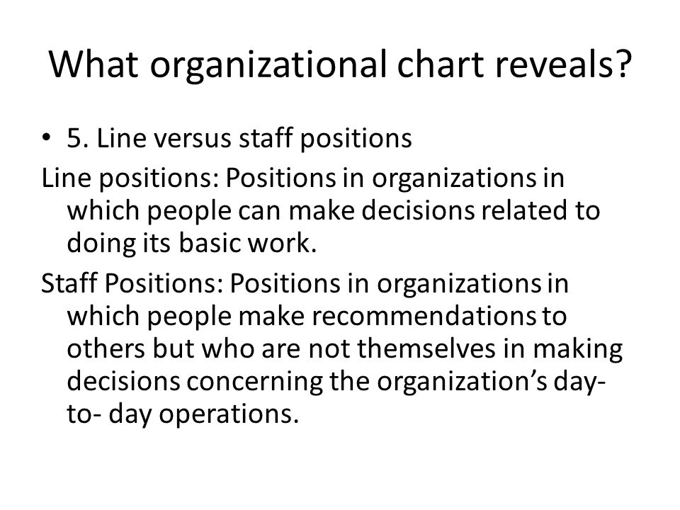 What organizational chart reveals? 3. Standard organizational charts make clear that the many task to be performed within an organization are divided