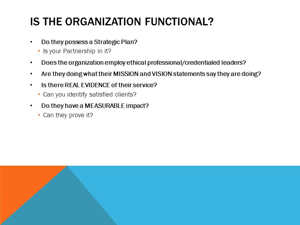 IS THE ORGANIZATION FUNCTIONAL. Do they possess a Strategic Plan.