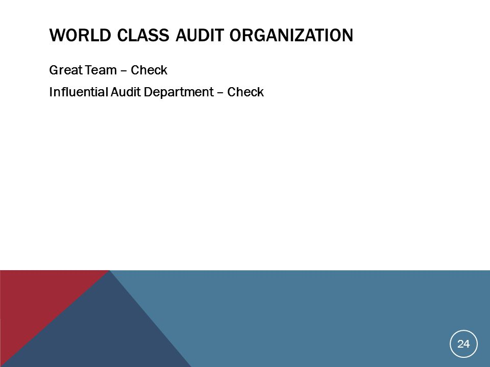 WORLD CLASS AUDIT ORGANIZATION Great Team – Check Influential Audit Department – Check 24