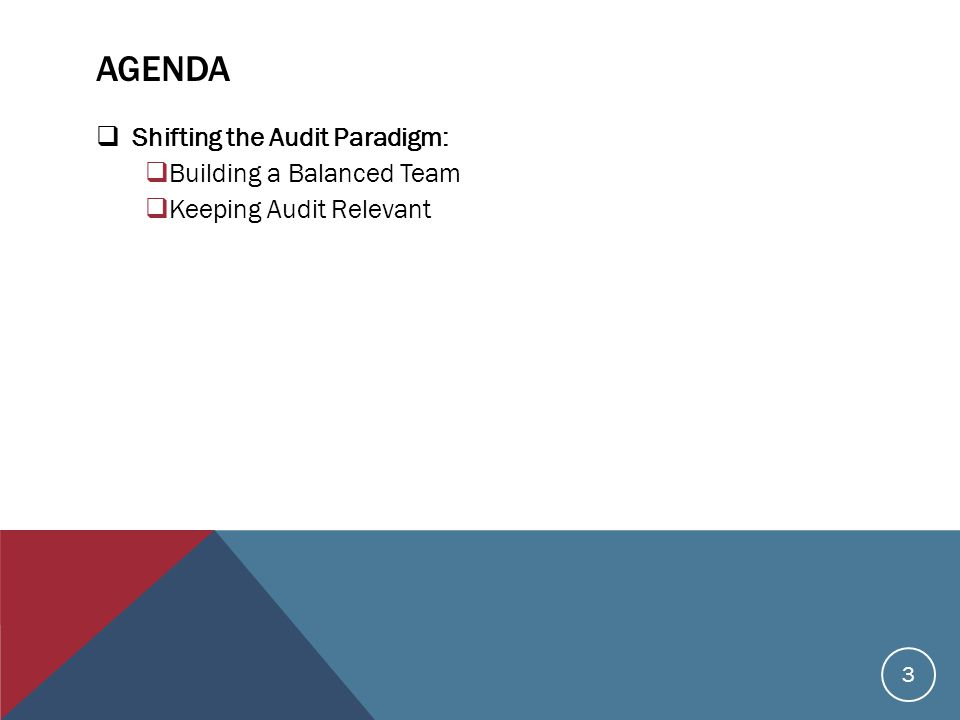AGENDA  Shifting the Audit Paradigm:  Building a Balanced Team  Keeping Audit Relevant 3