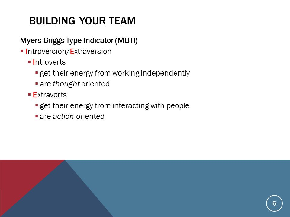 BUILDING YOUR TEAM Myers-Briggs Type Indicator (MBTI)  Introversion/Extraversion  Introverts  get their energy from working independently  are thought oriented  Extraverts  get their energy from interacting with people  are action oriented 6