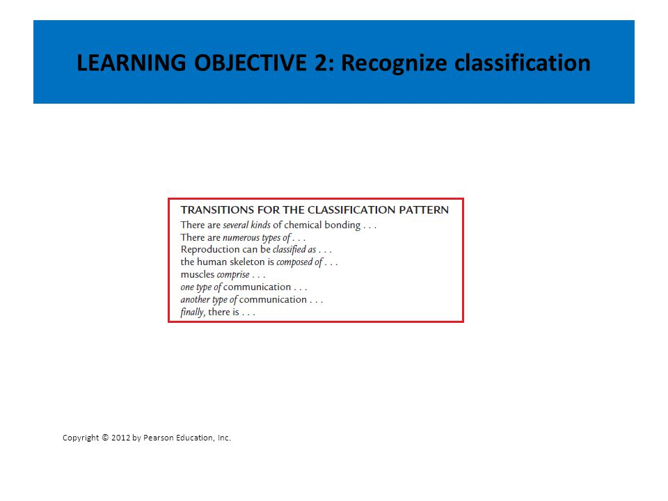 LEARNING OBJECTIVE 2: Recognize classification Copyright © 2012 by Pearson Education, Inc.