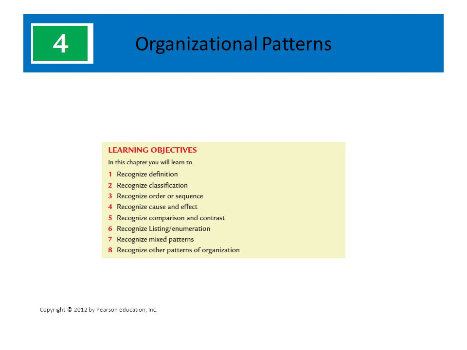 Organizational Patterns Copyright © 2012 by Pearson education, Inc.