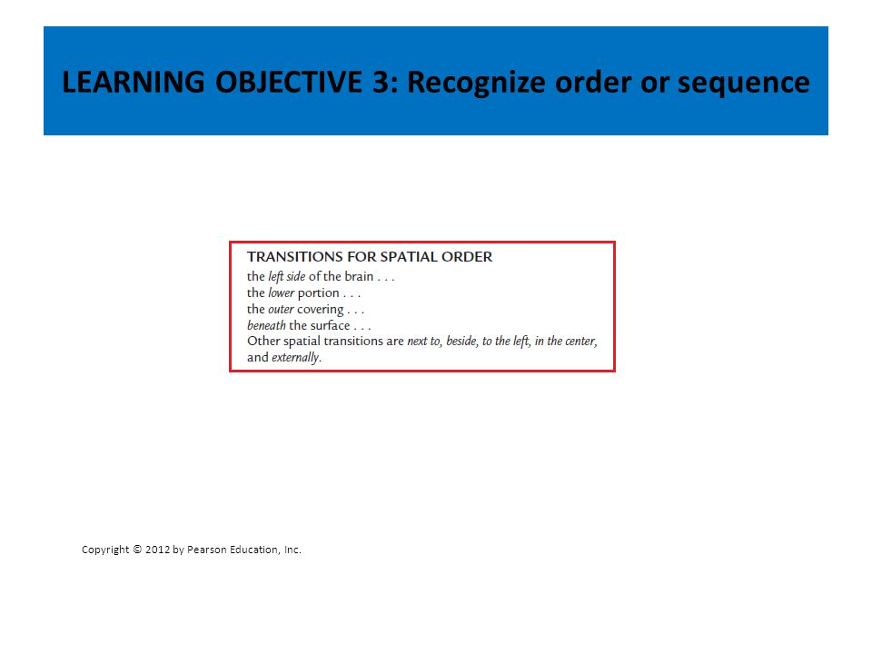 LEARNING OBJECTIVE 3: Recognize order or sequence Copyright © 2012 by Pearson Education, Inc.
