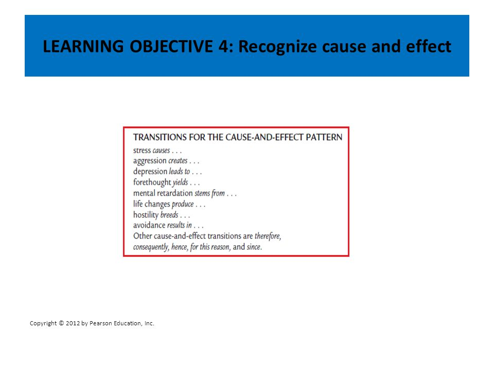 LEARNING OBJECTIVE 4: Recognize cause and effect Copyright © 2012 by Pearson Education, Inc.