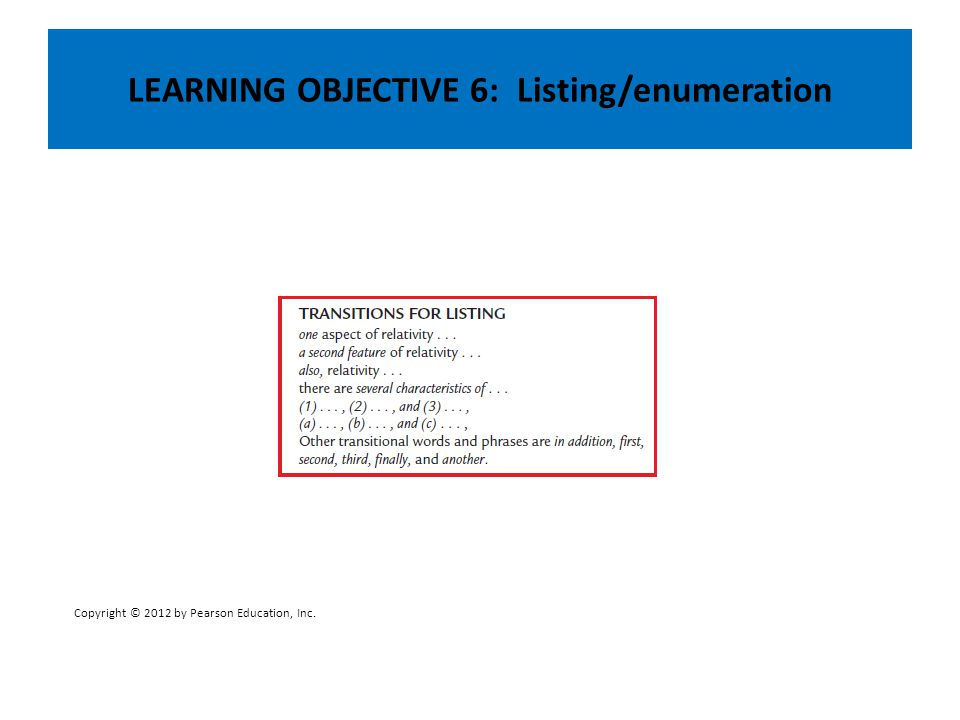 LEARNING OBJECTIVE 6: Listing/enumeration Copyright © 2012 by Pearson Education, Inc.