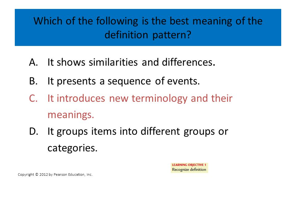 Which of the following is the best definition of the listing/enumeration pattern.