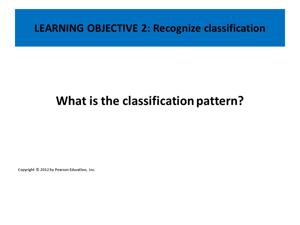 LEARNING OBJECTIVE 2: Recognize classification What is the classification pattern? Copyright © 2012 by Pearson Education, Inc.