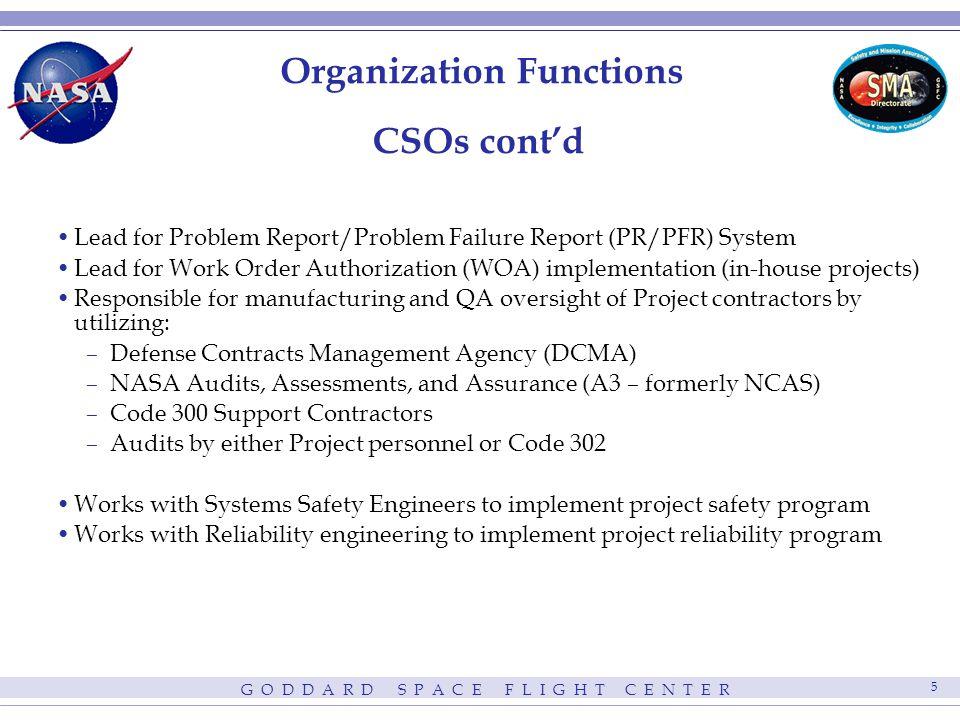 G O D D A R D S P A C E F L I G H T C E N T E R 6 Organization Functions CSOs cont'd Member of Parts Control Board.