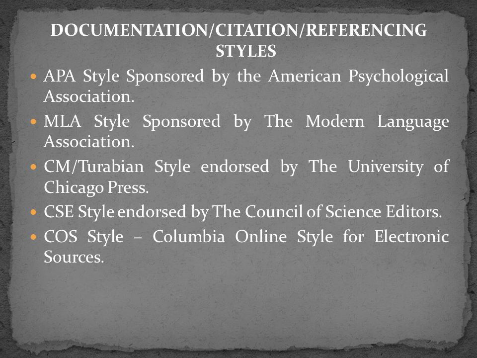 DOCUMENTATION/CITATION/REFERENCING STYLES APA Style Sponsored by the American Psychological Association.