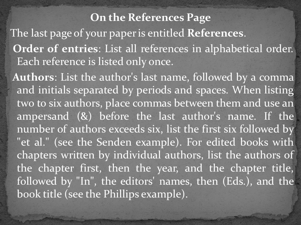 On the References Page The last page of your paper is entitled References.