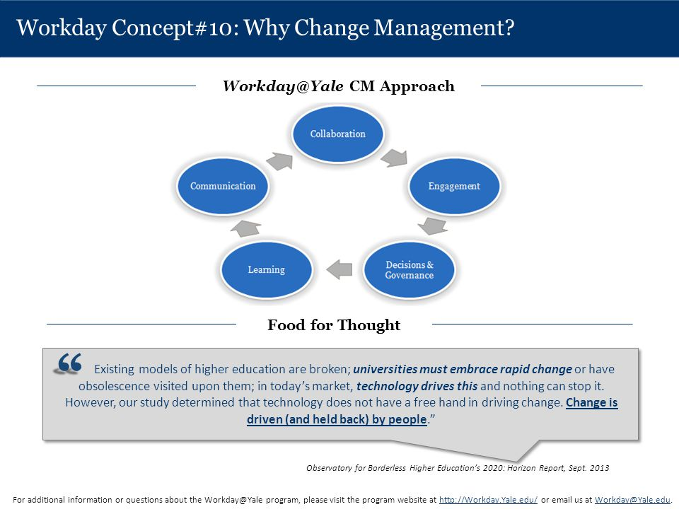 Workday Concept#10: Why Change Management? For additional information or questions about the Workday@Yale program, please visit the program website at