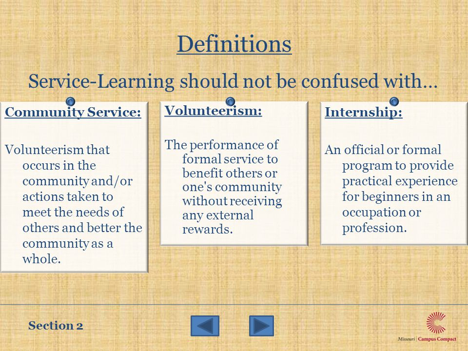 Definitions Service-Learning should not be confused with… Community Service: Volunteerism that occurs in the community and/or actions taken to meet the needs of others and better the community as a whole.