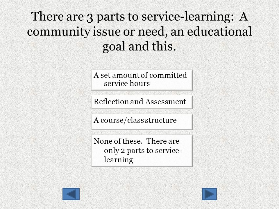 There are 3 parts to service-learning: A community issue or need, an educational goal and this.