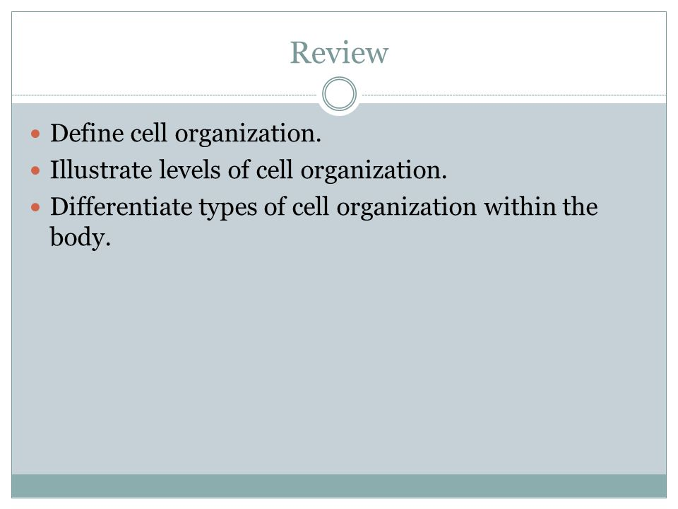 Review Define cell organization. Illustrate levels of cell organization.