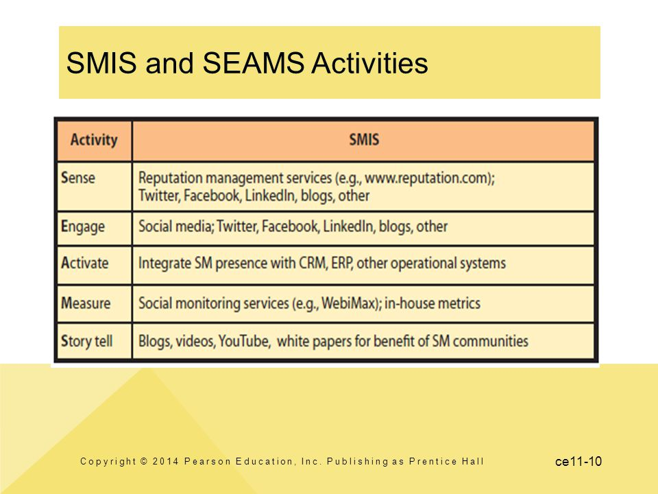 ce11-10 SMIS and SEAMS Activities Copyright © 2014 Pearson Education, Inc. Publishing as Prentice Hall