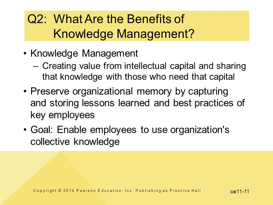 ce11-11 Knowledge Management –Creating value from intellectual capital and sharing that knowledge with those who need that capital Preserve organizati