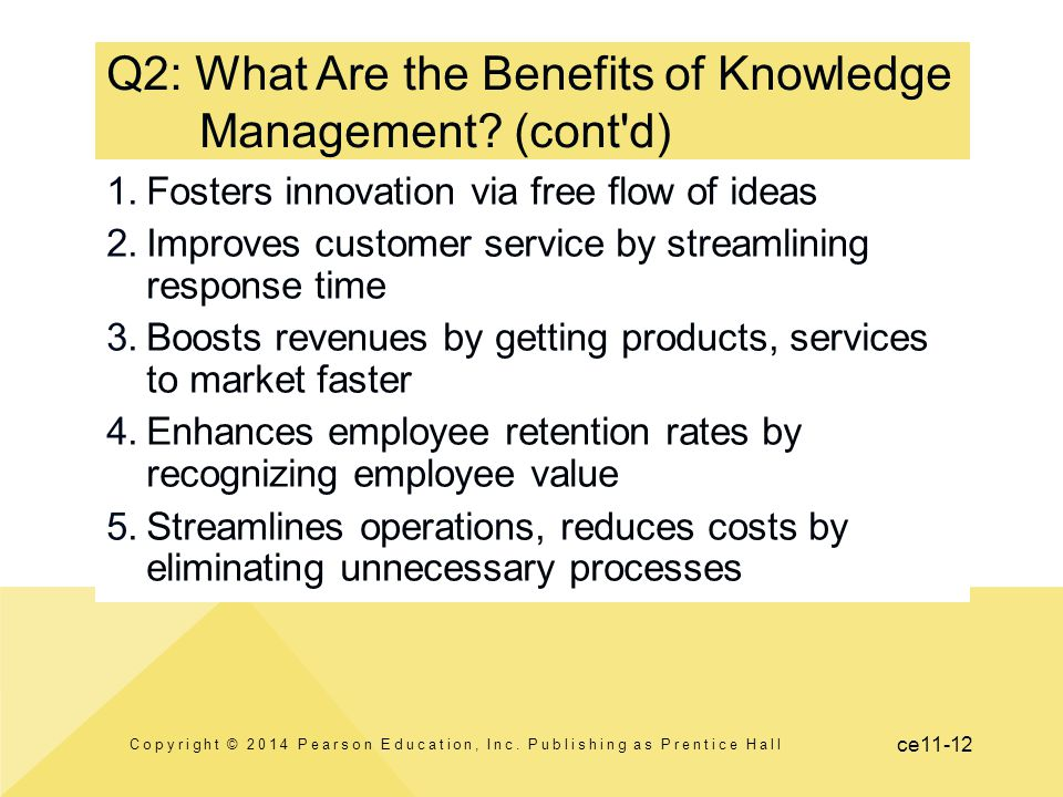ce11-12 Q2: What Are the Benefits of Knowledge Management? (cont'd) 1.Fosters innovation via free flow of ideas 2.Improves customer service by streaml