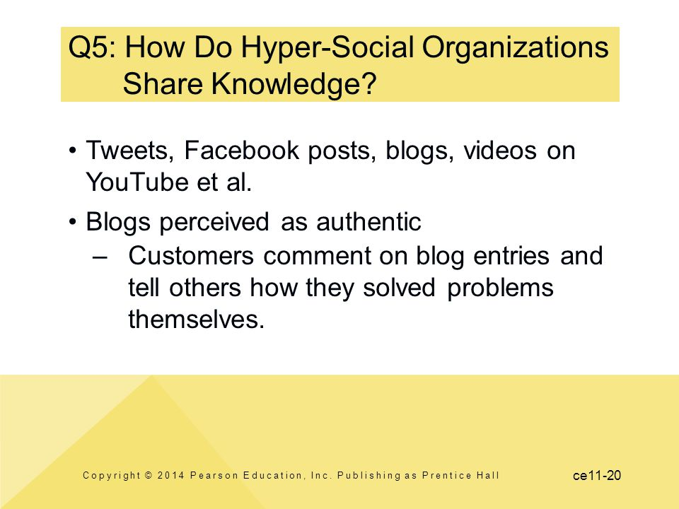 ce11-20 Q5: How Do Hyper-Social Organizations Share Knowledge? Tweets, Facebook posts, blogs, videos on YouTube et al. Blogs perceived as authentic –C