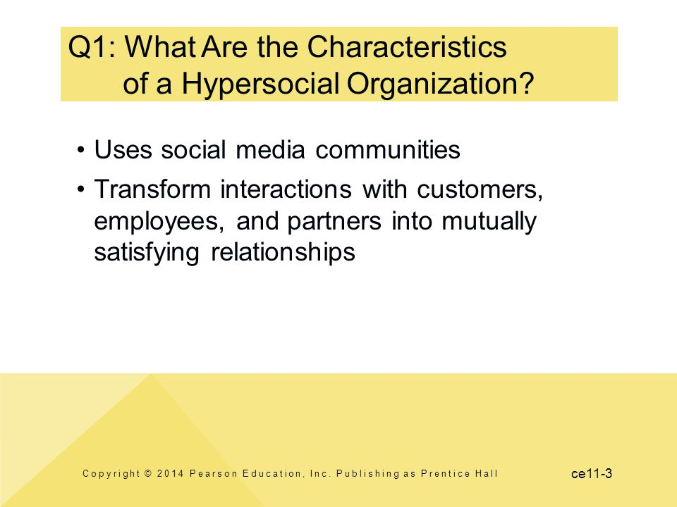 ce11-3 Q1: What Are the Characteristics of a Hypersocial Organization? Copyright © 2014 Pearson Education, Inc. Publishing as Prentice Hall Uses socia