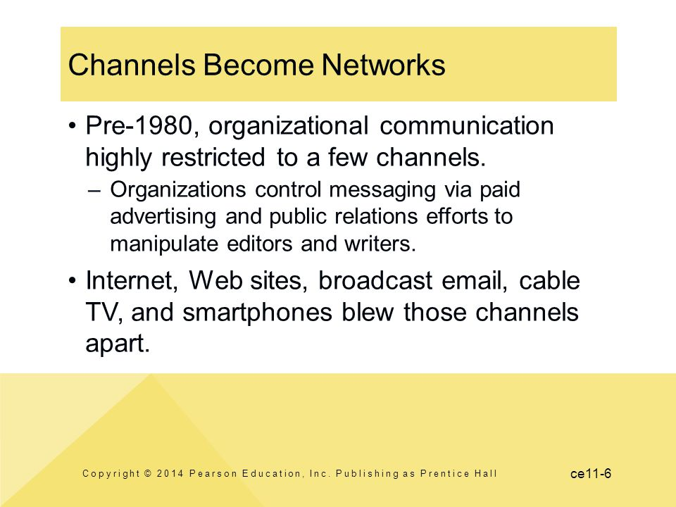 ce11-6 Channels Become Networks Pre-1980, organizational communication highly restricted to a few channels. –Organizations control messaging via paid