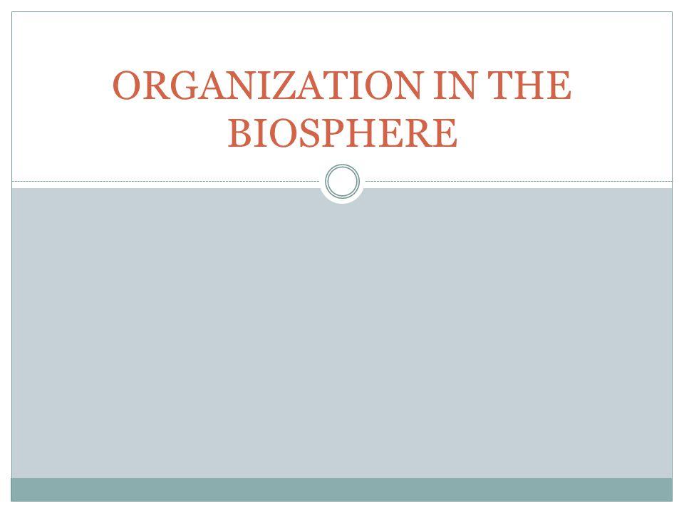 ORGANIZATION IN THE BIOSPHERE