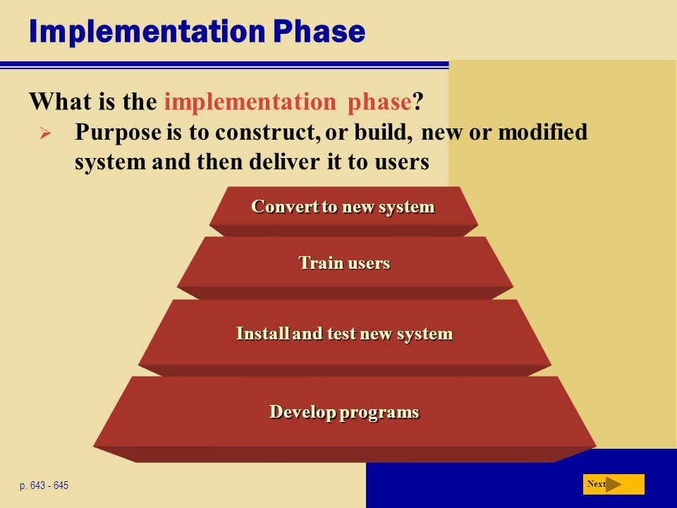 Convert to new system Implementation Phase What is the implementation phase? p. 643 - 645 Next  Purpose is to construct, or build, new or modified sy