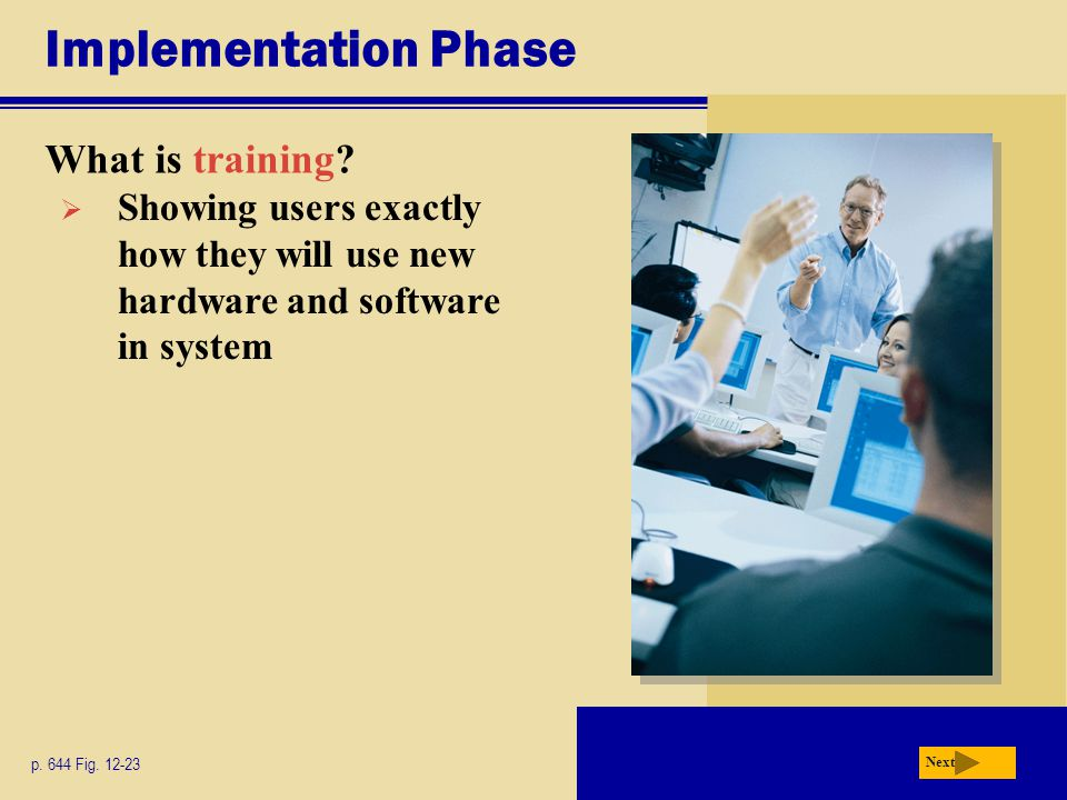 Implementation Phase What is training? p. 644 Fig. 12-23 Next  Showing users exactly how they will use new hardware and software in system