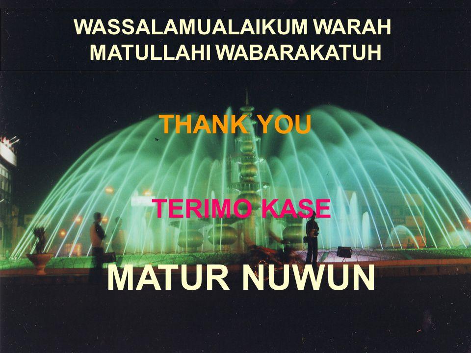 MATUR NUWUN WASSALAMUALAIKUM WARAH MATULLAHI WABARAKATUH THANK YOU TERIMO KASE