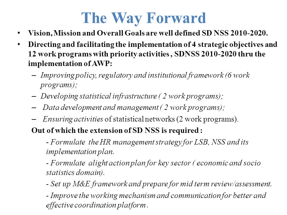 The Way Forward Vision, Mission and Overall Goals are well defined SD NSS 2010-2020. Directing and facilitating the implementation of 4 strategic obje
