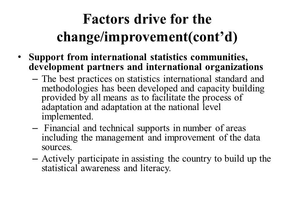 Factors drive for the change/improvement(cont'd) Support from international statistics communities, development partners and international organizatio