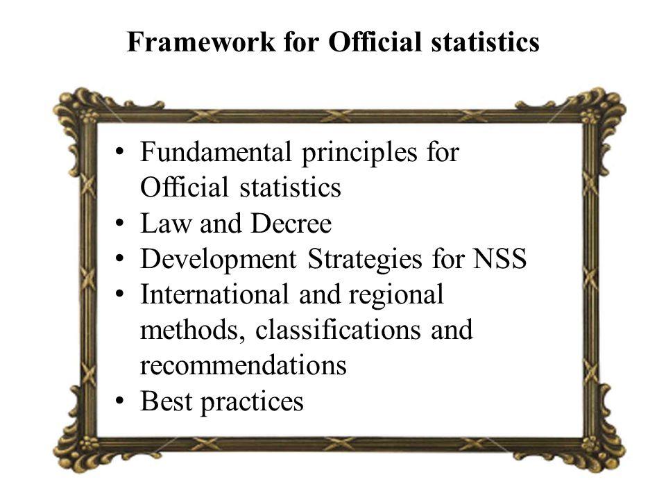 Framework for Official statistics Fundamental principles for Official statistics Law and Decree Development Strategies for NSS International and regio