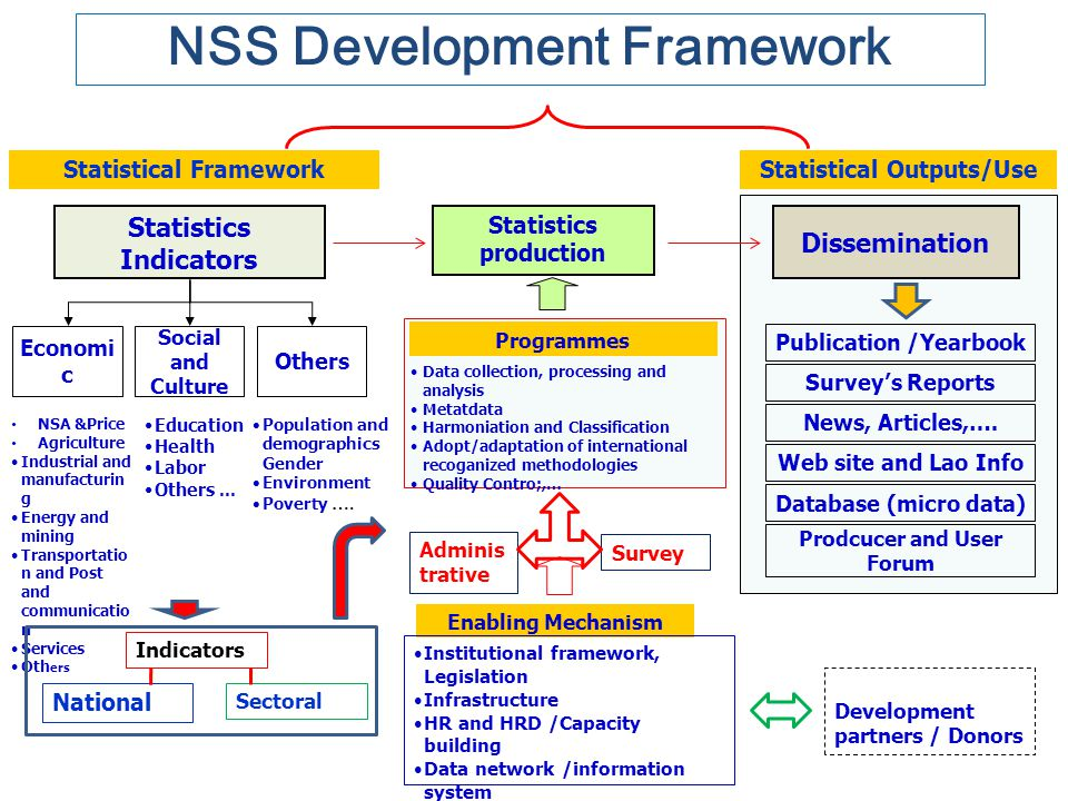 NSS Development Framework Statistical Framework Statistics Indicators Economi c Others Social and Culture NSA &Price Agriculture Industrial and manufa
