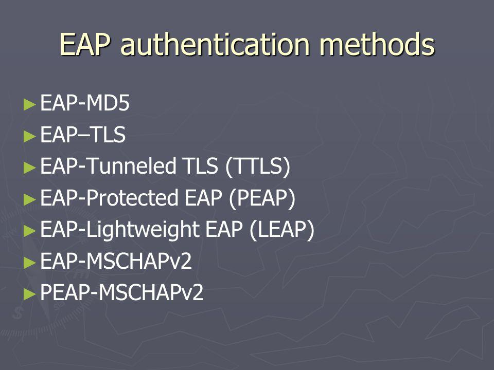 EAP authentication methods ► ► EAP-MD5 ► ► EAP–TLS ► ► EAP-Tunneled TLS (TTLS) ► ► EAP-Protected EAP (PEAP) ► ► EAP-Lightweight EAP (LEAP) ► ► EAP-MSCHAPv2 ► ► PEAP-MSCHAPv2