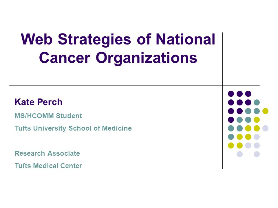 Web Strategies of National Cancer Organizations Kate Perch MS/HCOMM Student Tufts University School of Medicine Research Associate Tufts Medical Center