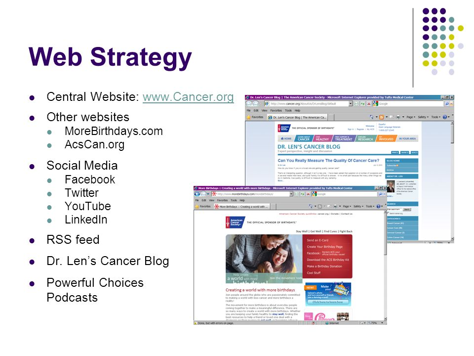 Web Strategy Central Website: www.Cancer.org Other websites MoreBirthdays.com AcsCan.org Social Media Facebook Twitter YouTube LinkedIn RSS feed Dr.