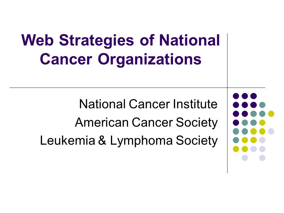 Web Strategies of National Cancer Organizations National Cancer Institute American Cancer Society Leukemia & Lymphoma Society