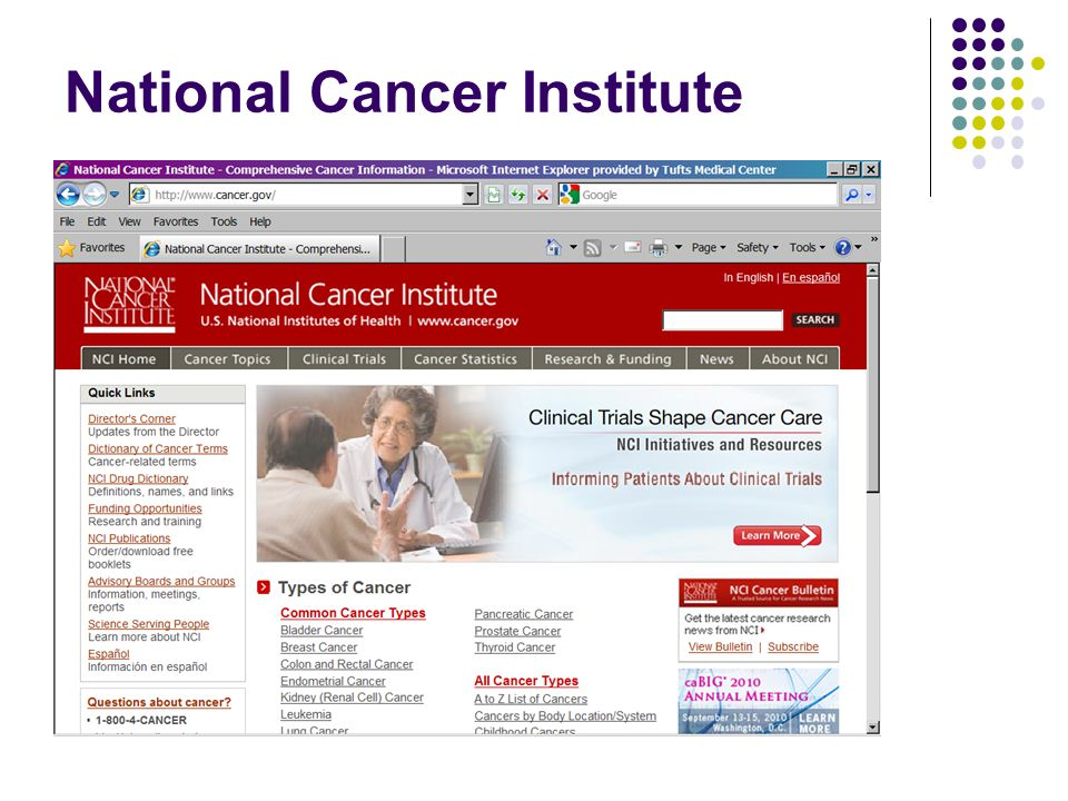 ACS SWOT Analysis StrengthsWeaknesses  Large number of qualified staff dedicated to communication initiatives  Advanced search tool (site section & content type specific)  Links to other ACS websites easily accessible on homepage  Comprehensive website evaluation  Use of several web technologies to achieve mission (discussion board, online donations, resource finders, online chat)  Social media sites, blog, podcasts and enewsletters and online chat feature not accessible through homepage  All resources for healthcare providers & researchers difficult to find  Clinical Trial Matching Service difficult to locate on website  Disappointing use of RSS feed technology OpportunitiesThreats  New web-based technology to link patients to volunteers and expert advice from healthcare providers (e.g.