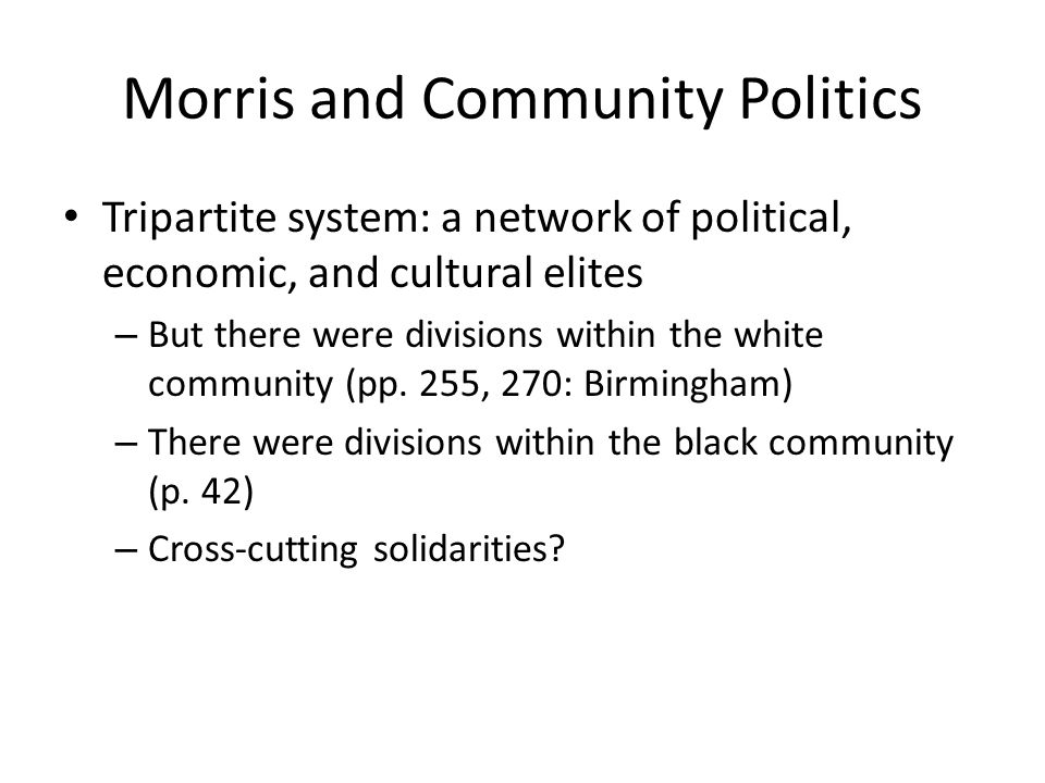 Morris and Community Politics Tripartite system: a network of political, economic, and cultural elites – But there were divisions within the white com
