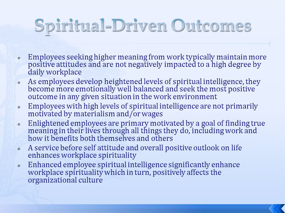  Employees seeking higher meaning from work typically maintain more positive attitudes and are not negatively impacted to a high degree by daily work