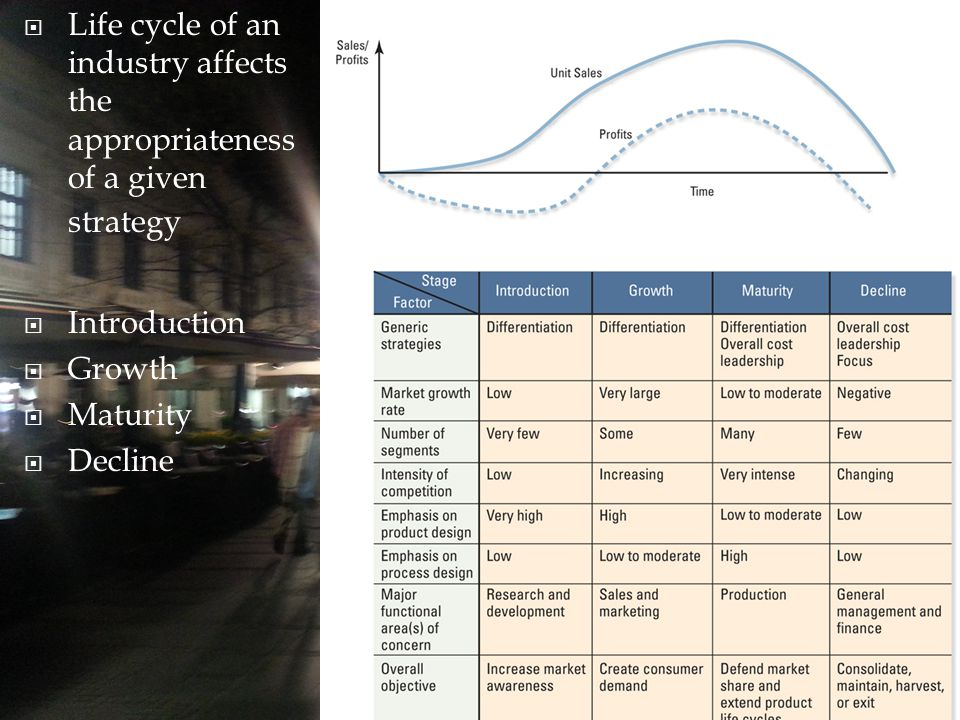  Life cycle of an industry affects the appropriateness of a given strategy  Introduction  Growth  Maturity  Decline