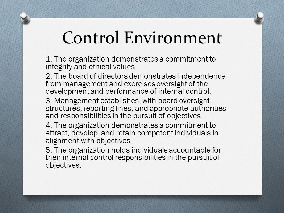 Control Environment 1. The organization demonstrates a commitment to integrity and ethical values.