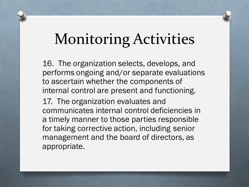 Monitoring Activities 16.